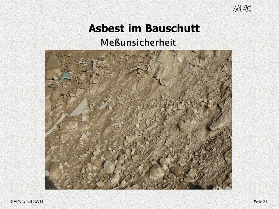 Asbest im Bauschutt Meßunsicherheit © APC GmbH 2011