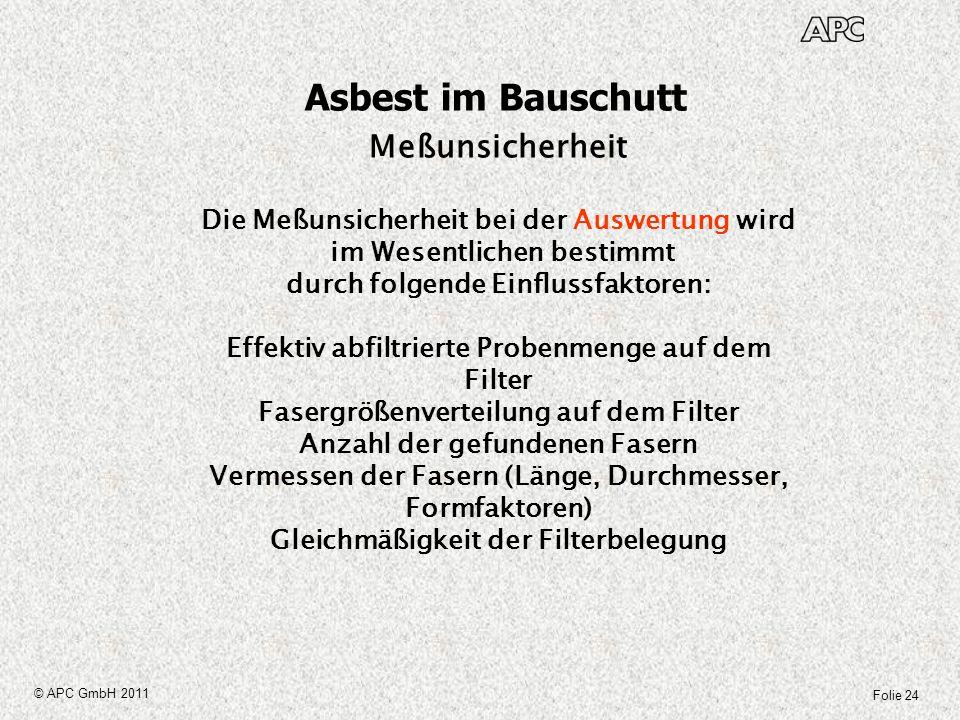 Asbest im Bauschutt Meßunsicherheit