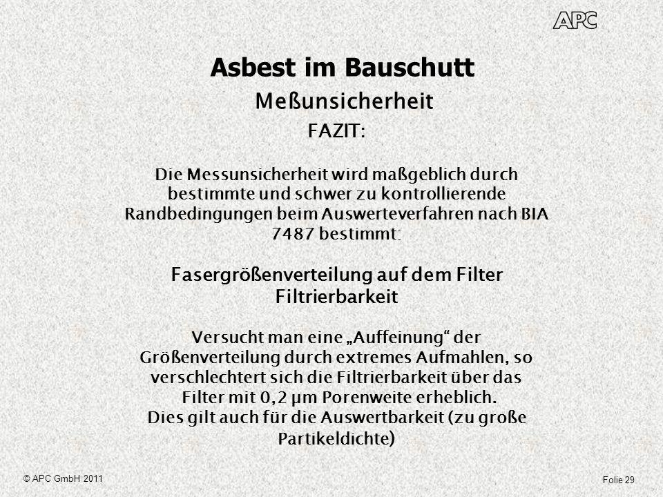 Asbest im Bauschutt Meßunsicherheit FAZIT: