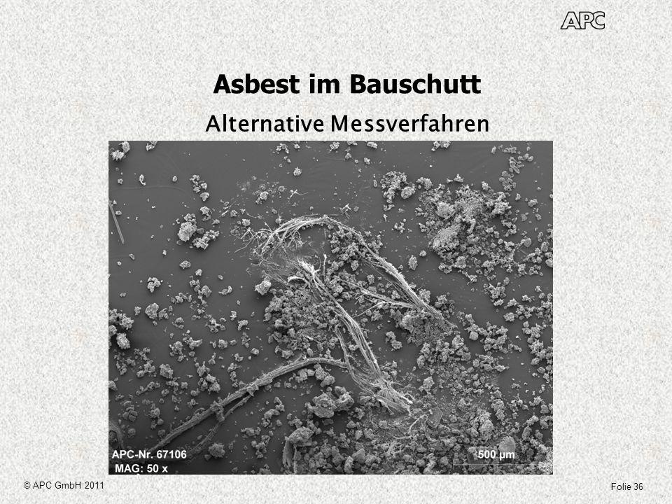 Asbest im Bauschutt Alternative Messverfahren © APC GmbH 2011