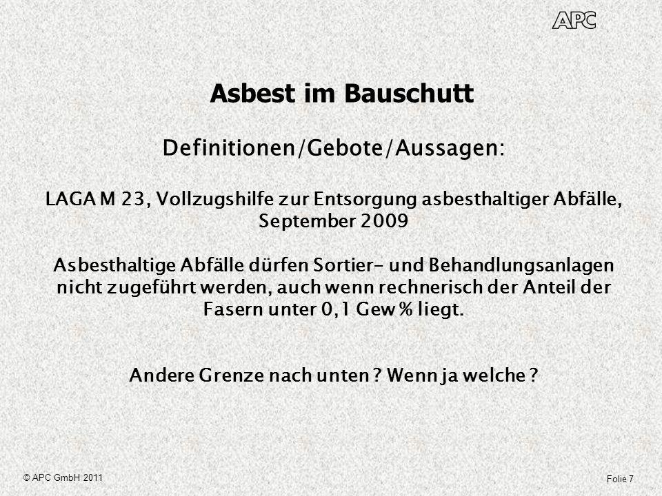 Asbest im Bauschutt Definitionen/Gebote/Aussagen: