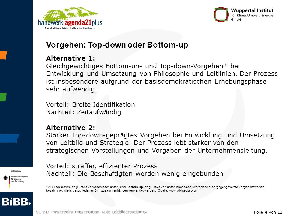 Vorgehen: Top-down oder Bottom-up