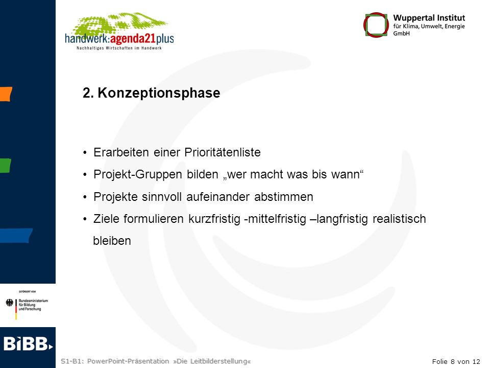 2. Konzeptionsphase Erarbeiten einer Prioritätenliste