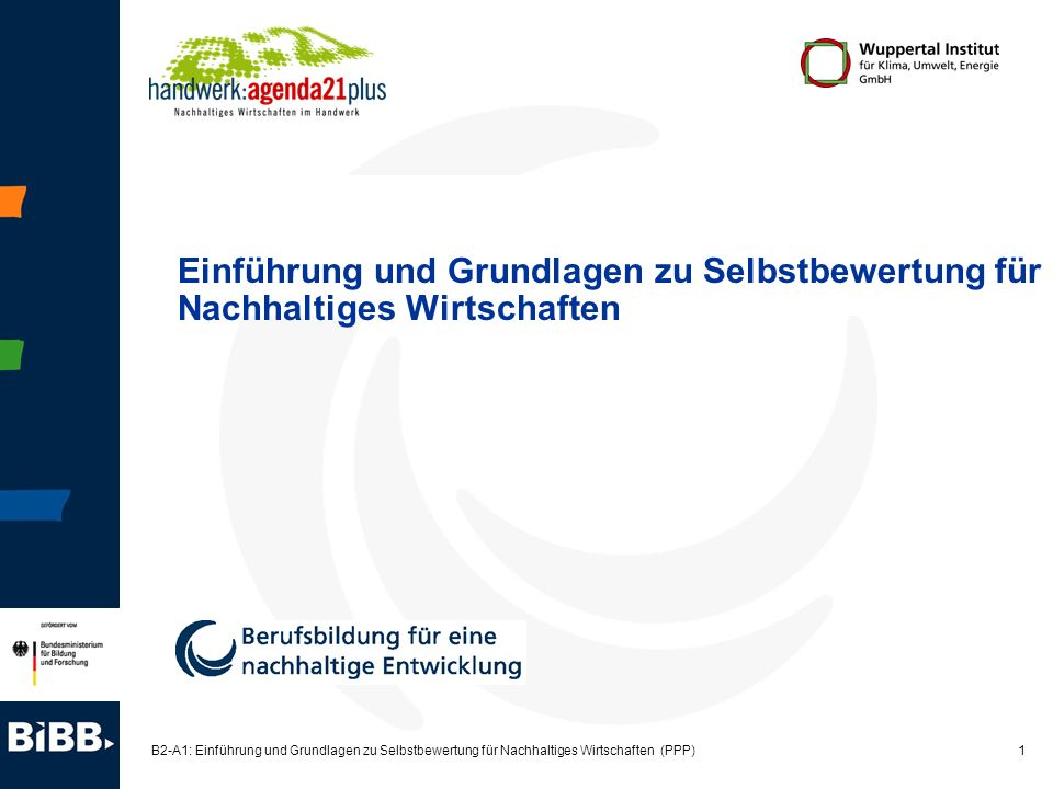 Einführung und Grundlagen zu Selbstbewertung für Nachhaltiges Wirtschaften