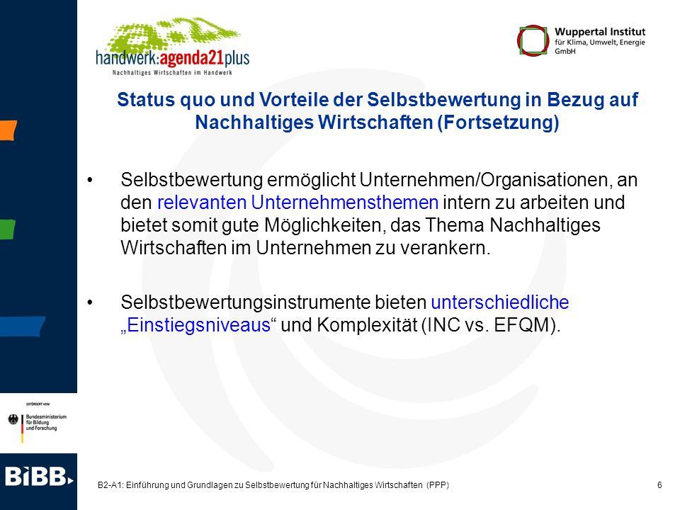 Status quo und Vorteile der Selbstbewertung in Bezug auf Nachhaltiges Wirtschaften (Fortsetzung)