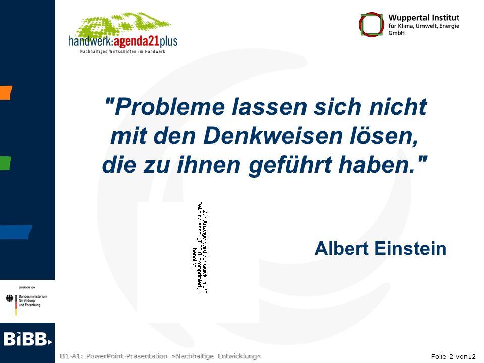 Probleme lassen sich nicht mit den Denkweisen lösen,