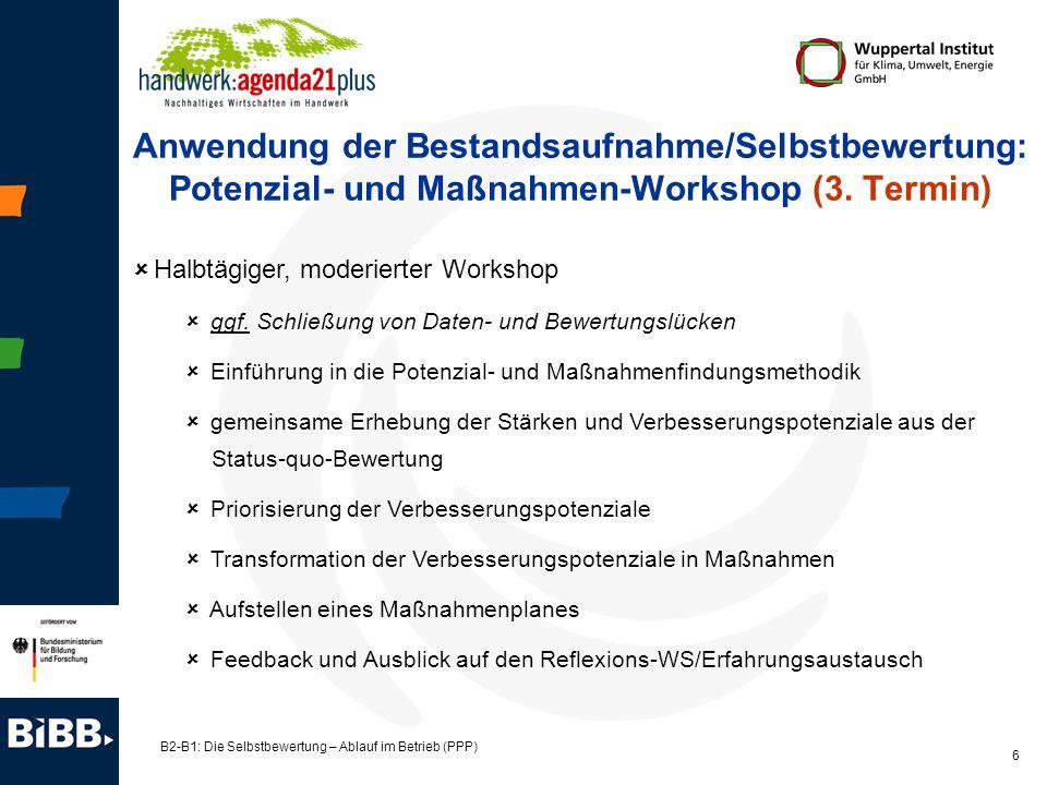 Anwendung der Bestandsaufnahme/Selbstbewertung: Potenzial- und Maßnahmen-Workshop (3. Termin)