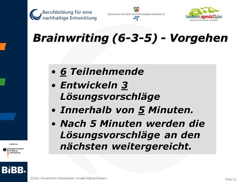 Brainwriting (6-3-5) - Vorgehen