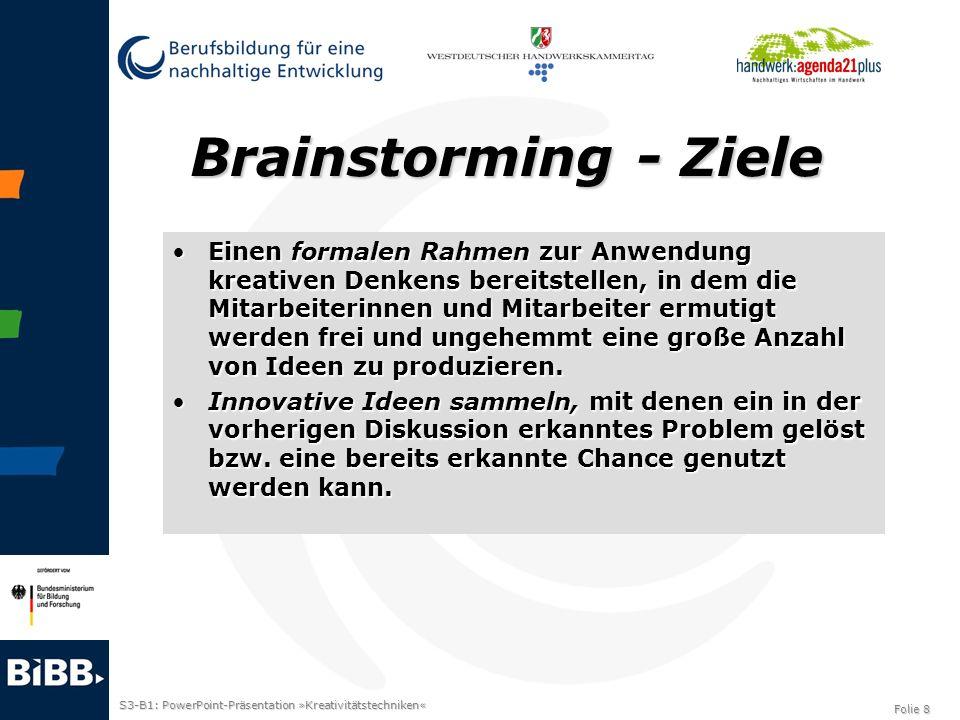 Brainstorming - Ziele