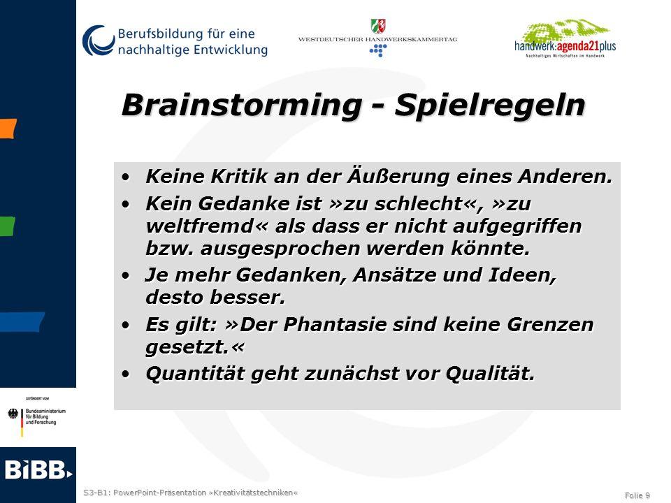 Brainstorming - Spielregeln