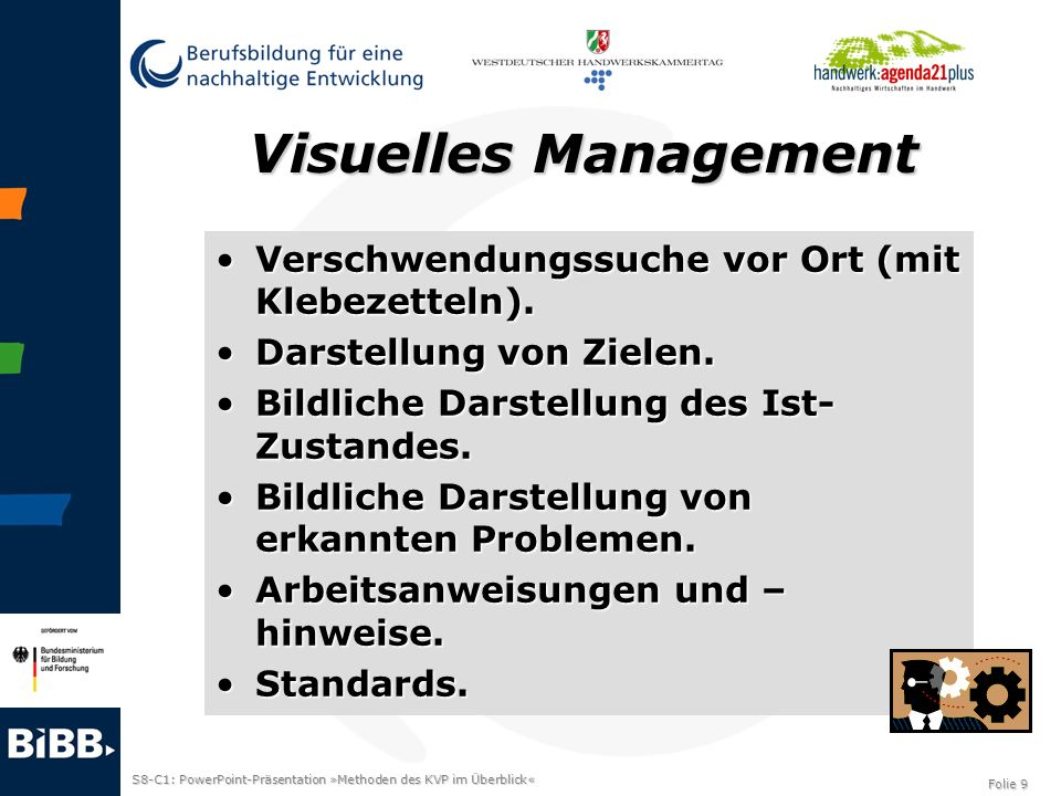 Visuelles Management Verschwendungssuche vor Ort (mit Klebezetteln).