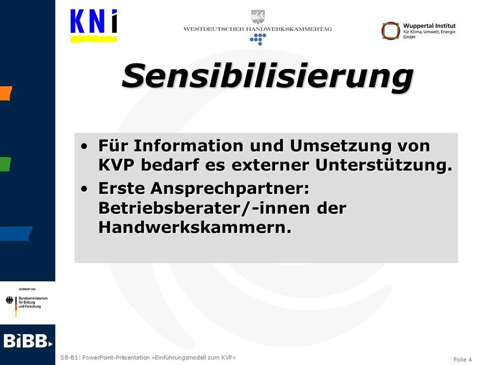SensibilisierungFür Information und Umsetzung von KVP bedarf es externer Unterstützung.