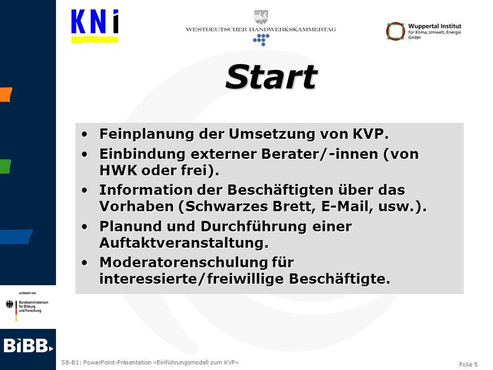 Start Feinplanung der Umsetzung von KVP.