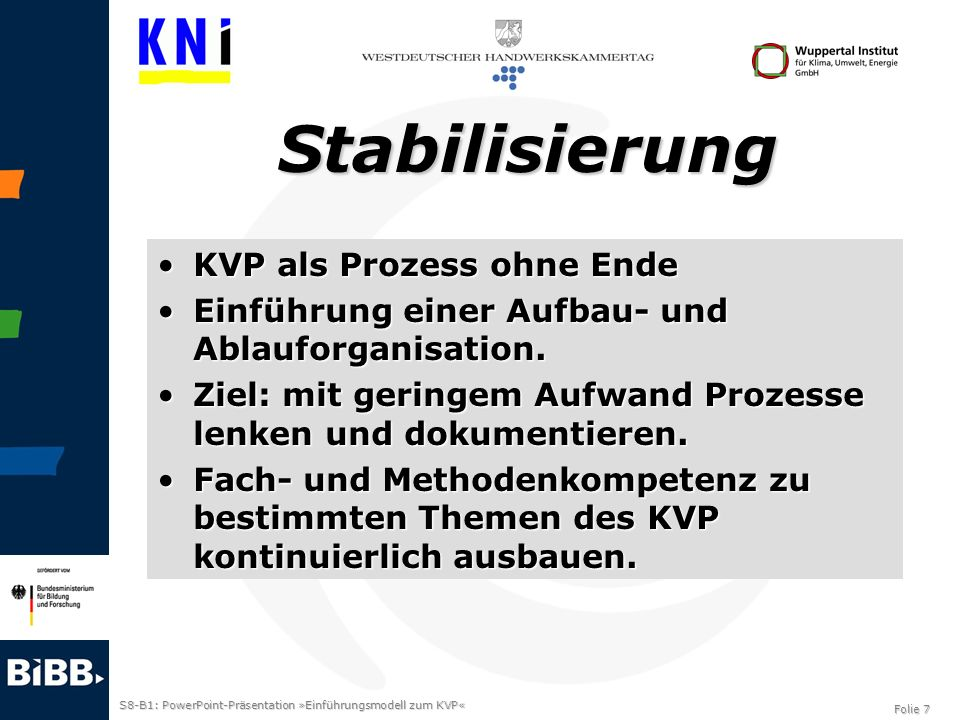Stabilisierung KVP als Prozess ohne Ende
