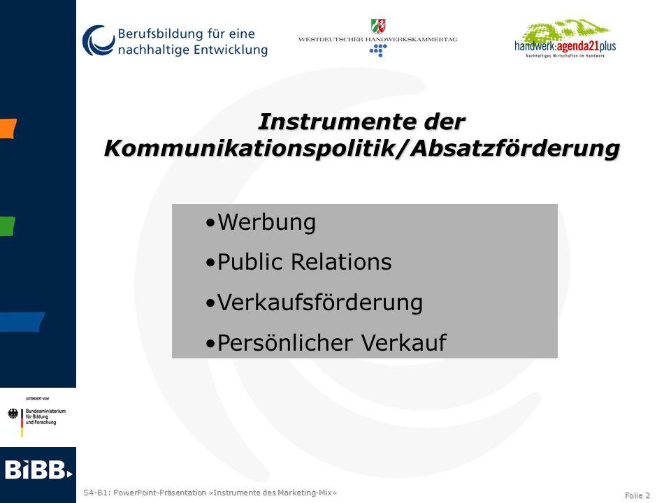 Instrumente der Kommunikationspolitik/Absatzförderung