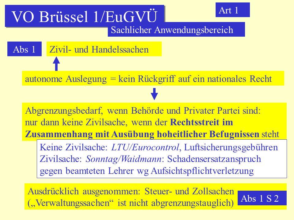 VO Brüssel 1/EuGVÜ Art 1 Sachlicher Anwendungsbereich Abs 1