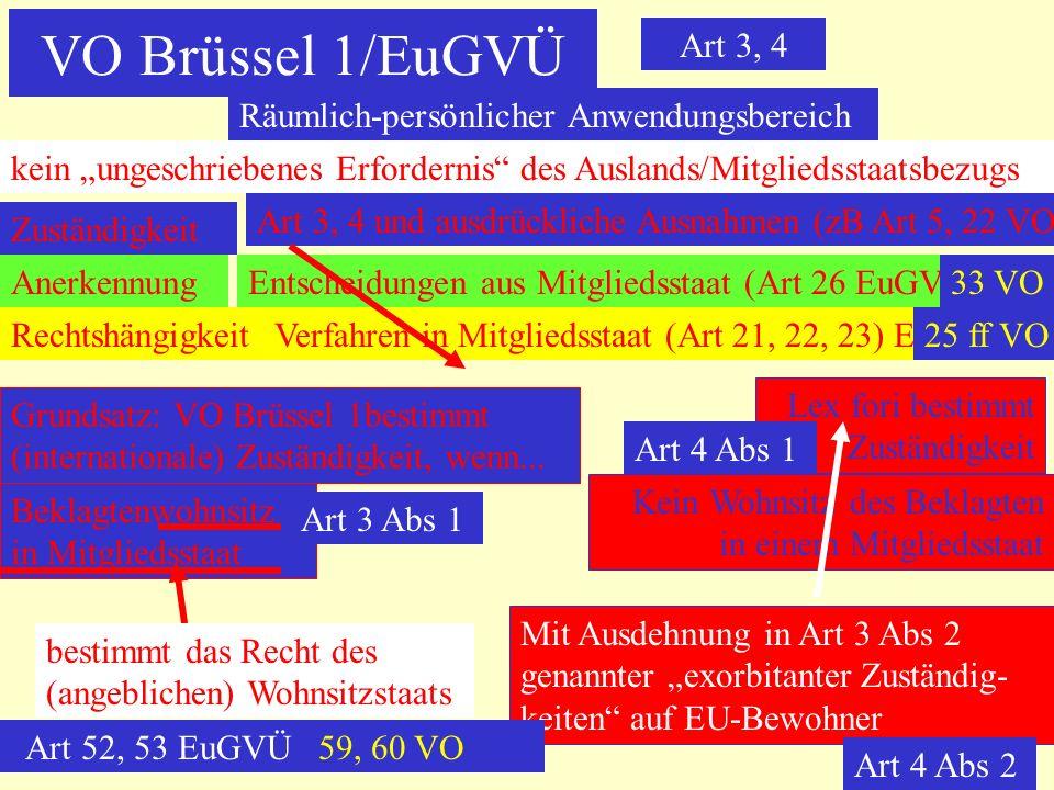 VO Brüssel 1/EuGVÜ Art 3, 4 Räumlich-persönlicher Anwendungsbereich