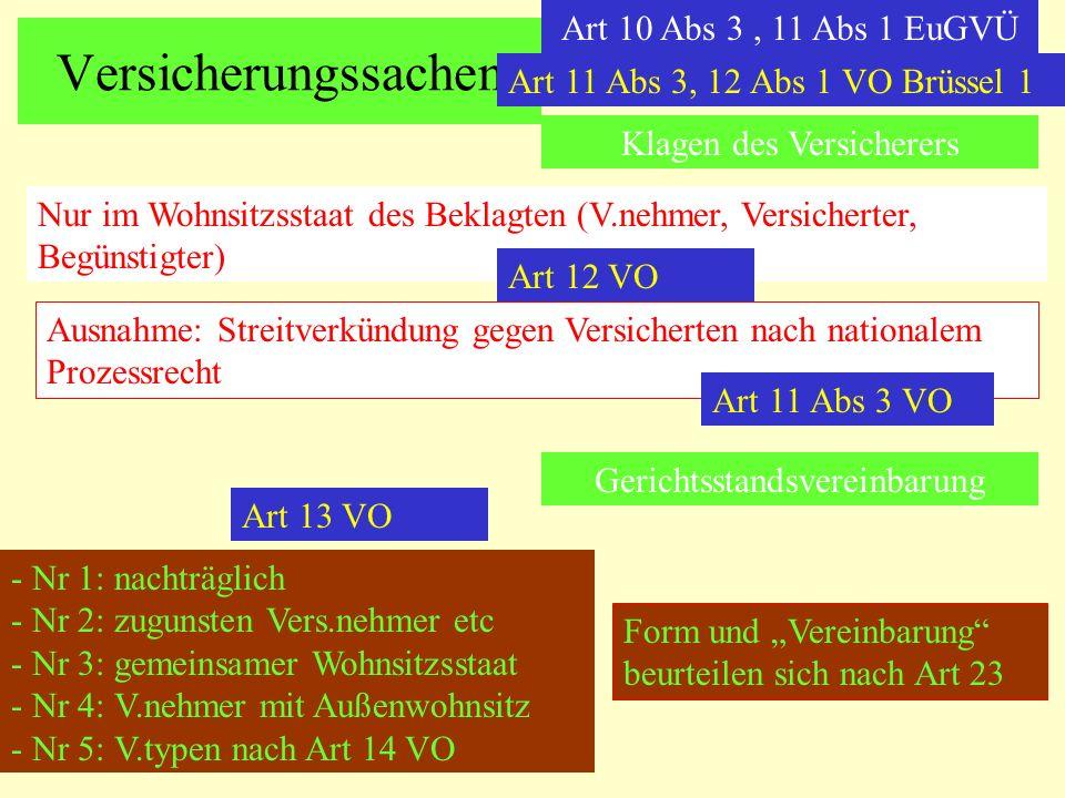 Versicherungssachen Art 10 Abs 3 , 11 Abs 1 EuGVÜ