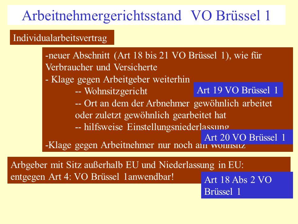 Arbeitnehmergerichtsstand VO Brüssel 1