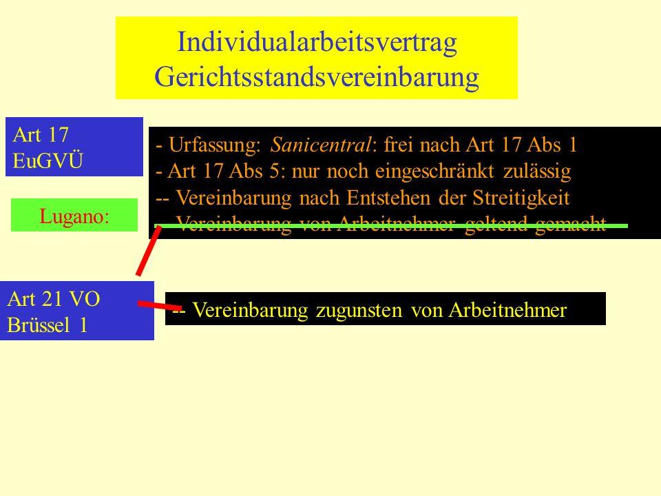 Individualarbeitsvertrag Gerichtsstandsvereinbarung