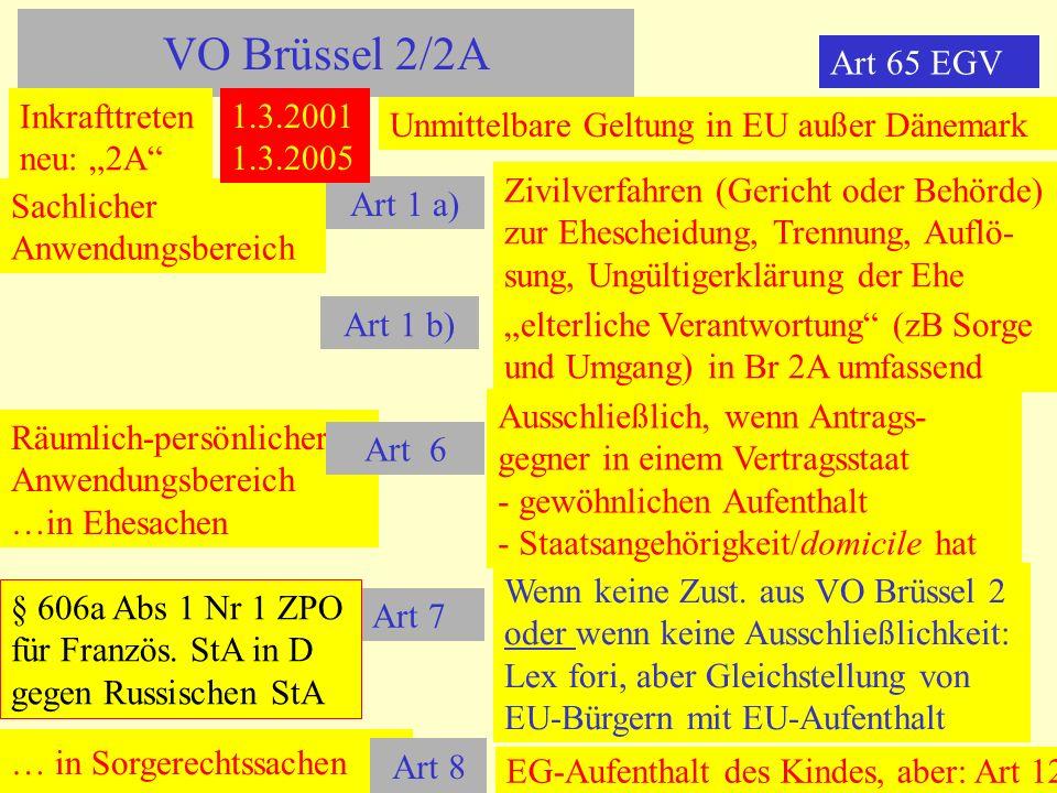 "VO Brüssel 2/2A Art 65 EGV Inkrafttreten neu: ""2A 1.3.2001 1.3.2005"