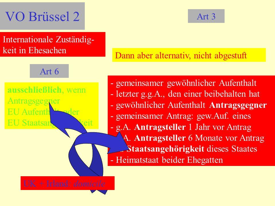 VO Brüssel 2 Art 3 Internationale Zuständig-keit in Ehesachen