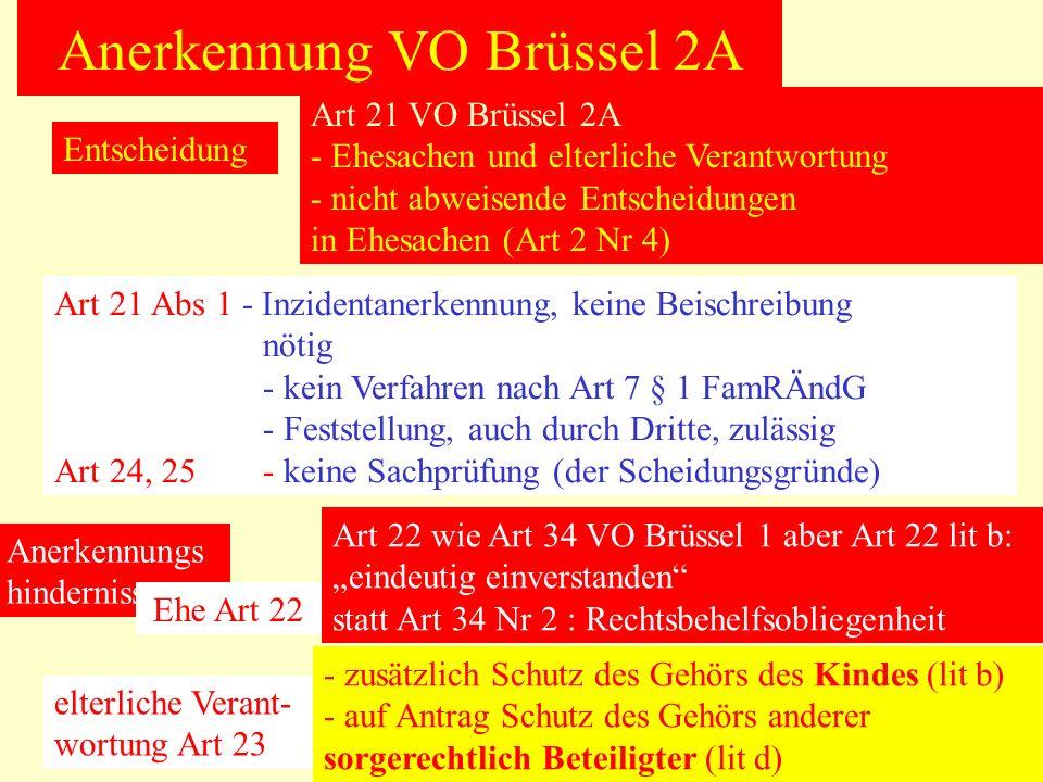Anerkennung VO Brüssel 2A