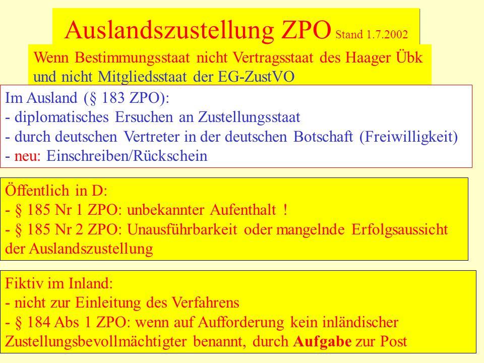 Auslandszustellung ZPO Stand 1.7.2002