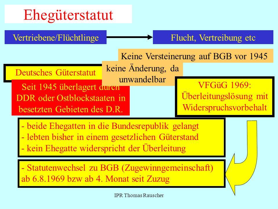 Ehegüterstatut Vertriebene/Flüchtlinge Flucht, Vertreibung etc