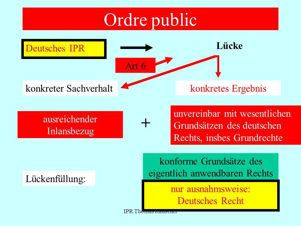 Ordre public + Lücke Deutsches IPR Ausländische Norm Art 6