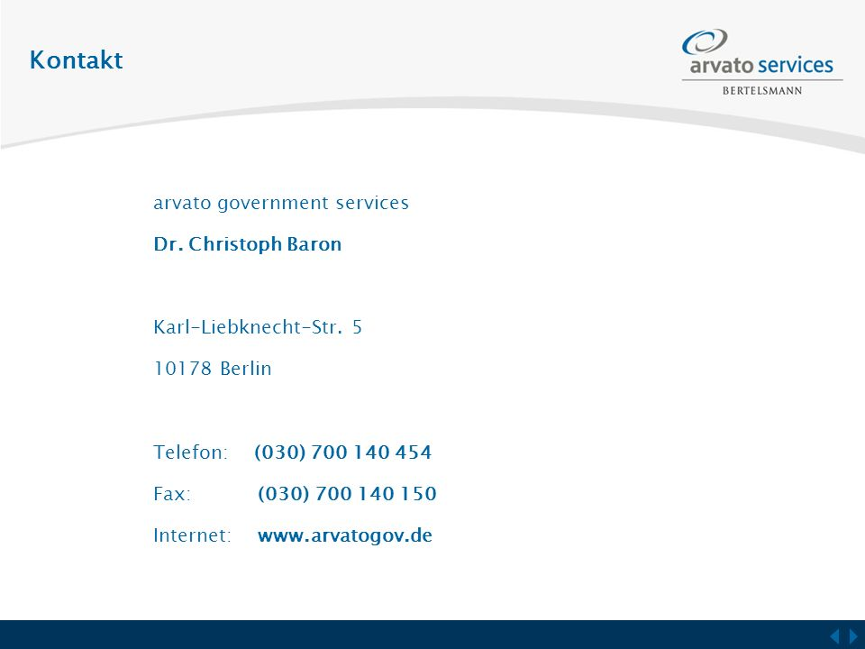 Kontakt arvato government services Dr. Christoph Baron