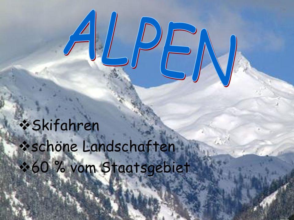 ALPEN Skifahren schöne Landschaften 60 % vom Staatsgebiet