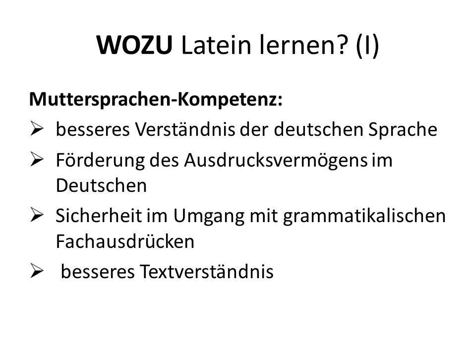 WOZU Latein lernen (I) Muttersprachen-Kompetenz: