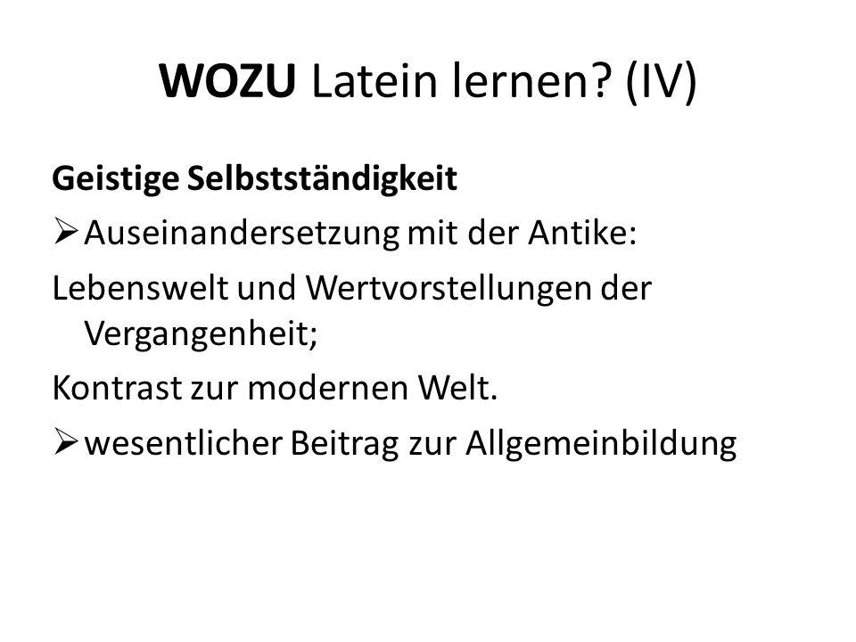 WOZU Latein lernen (IV)
