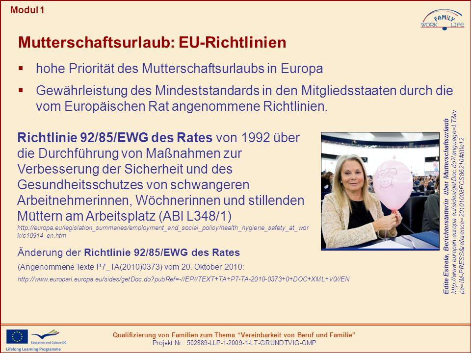 Mutterschaftsurlaub: EU-Richtlinien