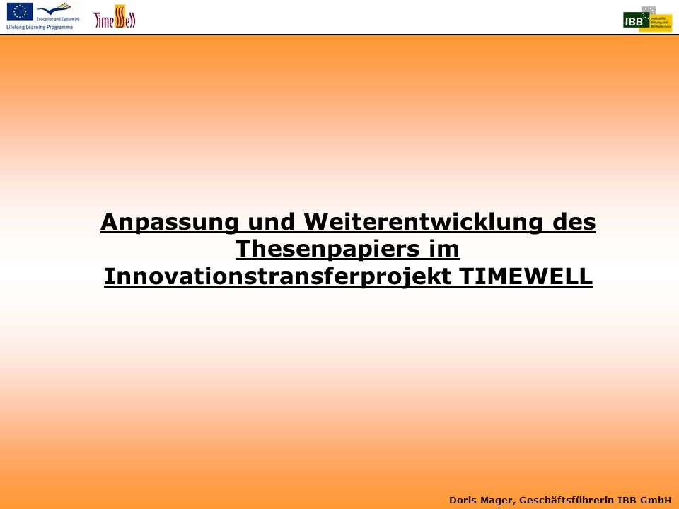 Anpassung und Weiterentwicklung des Thesenpapiers im Innovationstransferprojekt TIMEWELL