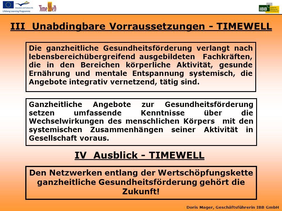 III Unabdingbare Vorraussetzungen - TIMEWELL
