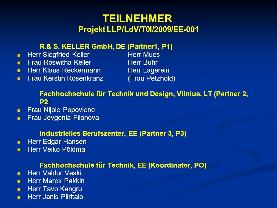 TEILNEHMER Projekt LLP/LdV/T0I/2009/EE-001
