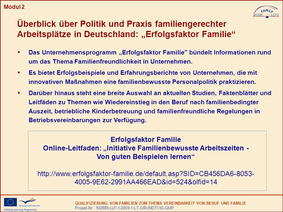 """Modul 2 Überblick über Politik und Praxis familiengerechter Arbeitsplätze in Deutschland: """"Erfolgsfaktor Familie"""