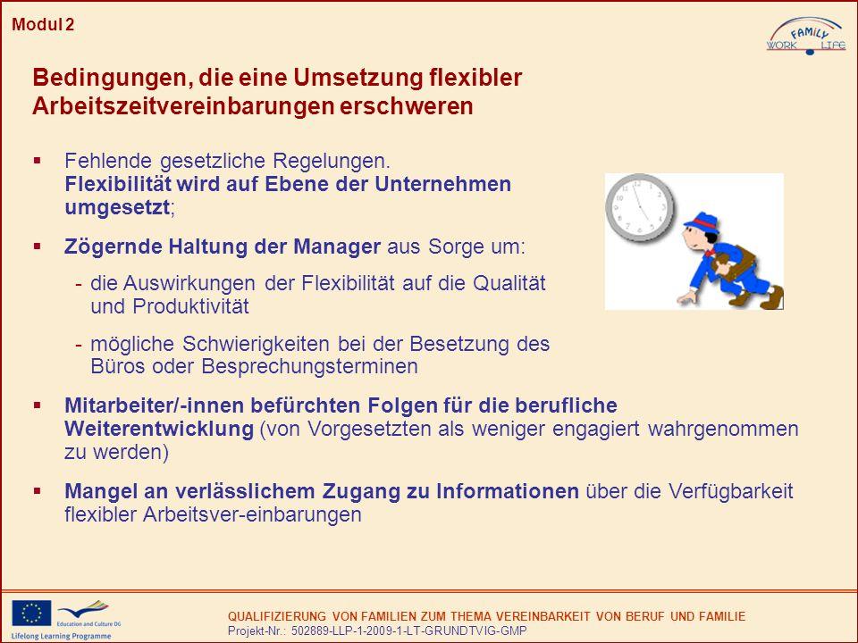 Modul 2 Bedingungen, die eine Umsetzung flexibler Arbeitszeitvereinbarungen erschweren.