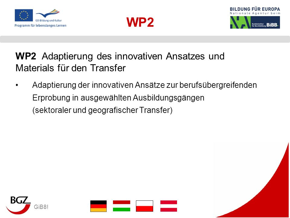 WP2WP2 Adaptierung des innovativen Ansatzes und Materials für den Transfer.