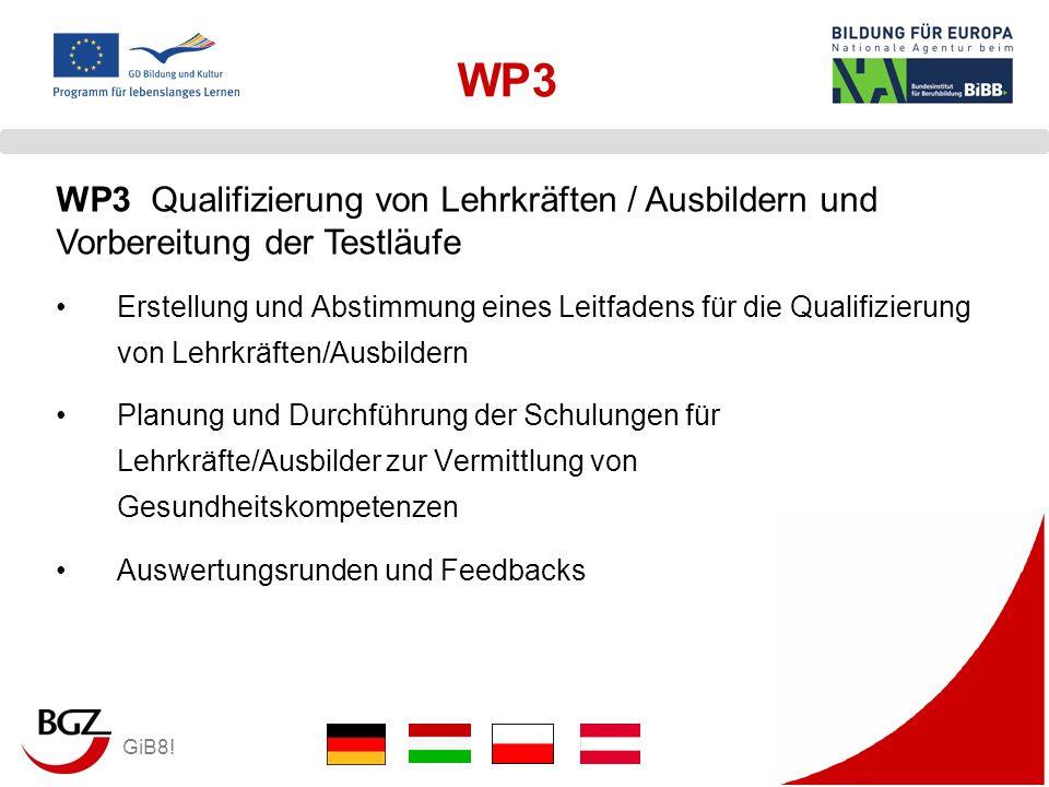WP3 WP3 Qualifizierung von Lehrkräften / Ausbildern und Vorbereitung der Testläufe.