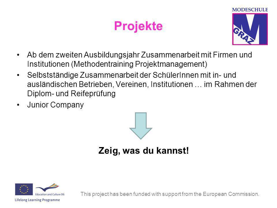 Projekte Ab dem zweiten Ausbildungsjahr Zusammenarbeit mit Firmen und Institutionen (Methodentraining Projektmanagement)