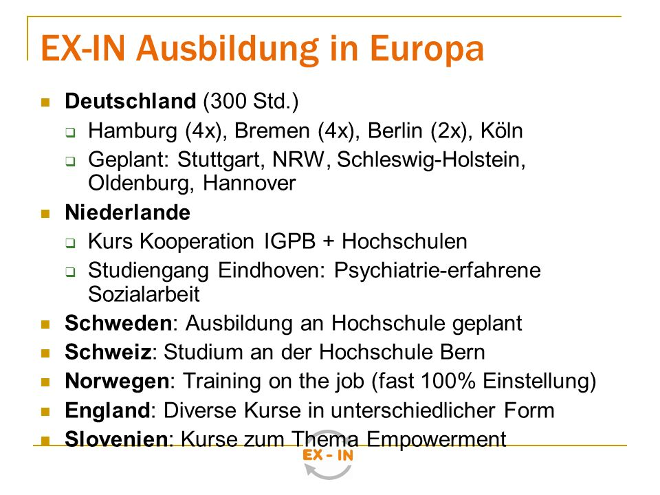 EX-IN Ausbildung in Europa