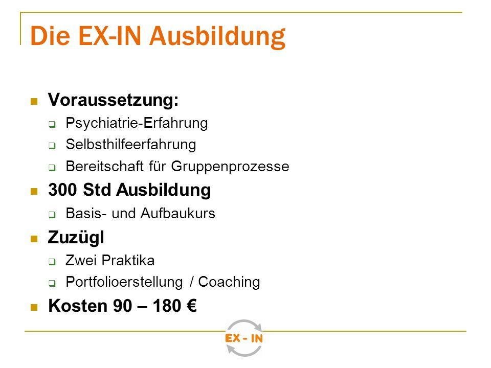 Die EX-IN Ausbildung Voraussetzung: 300 Std Ausbildung Zuzügl