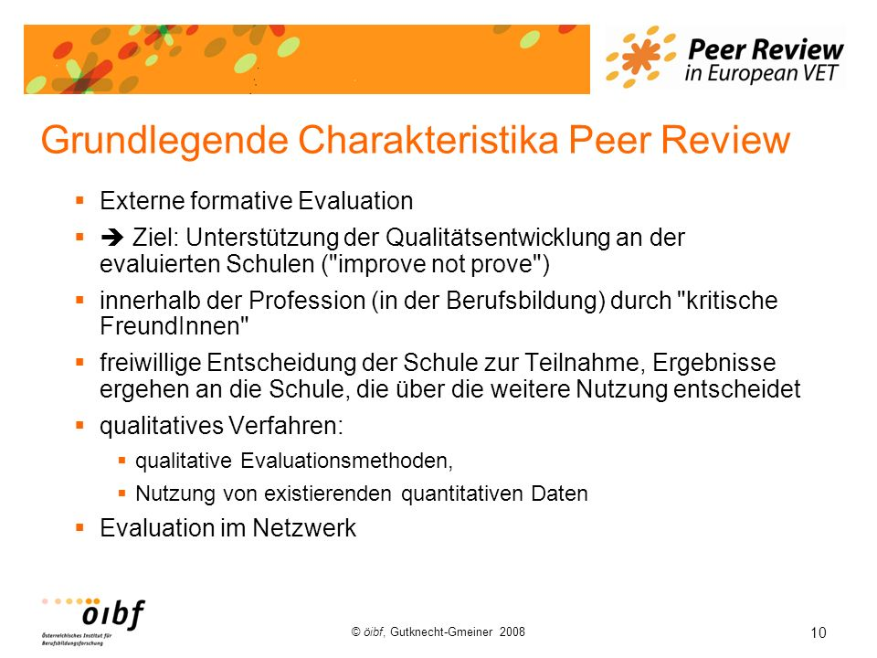 Grundlegende Charakteristika Peer Review