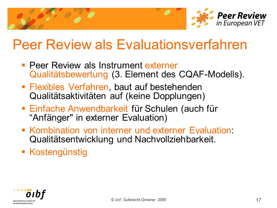 Peer Review als Evaluationsverfahren