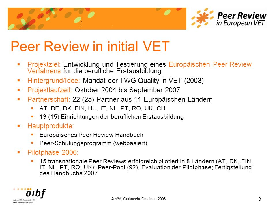 Peer Review in initial VET