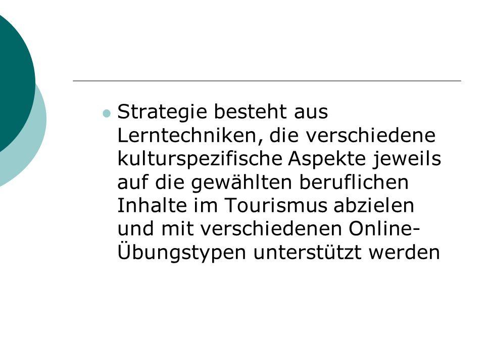 Strategie besteht aus Lerntechniken, die verschiedene kulturspezifische Aspekte jeweils auf die gewählten beruflichen Inhalte im Tourismus abzielen und mit verschiedenen Online-Übungstypen unterstützt werden