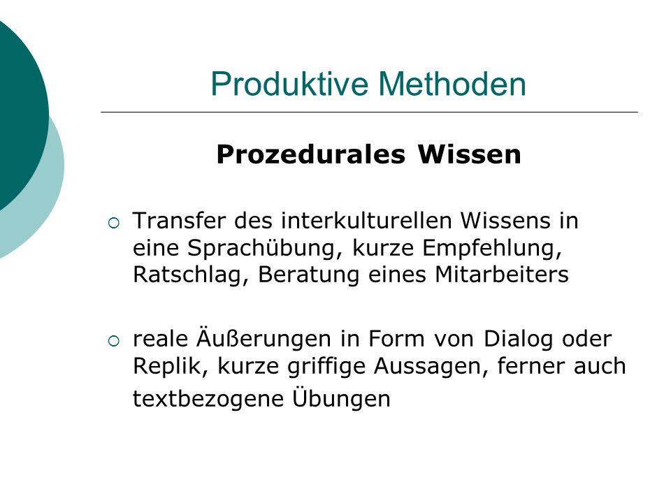 Produktive Methoden Prozedurales Wissen